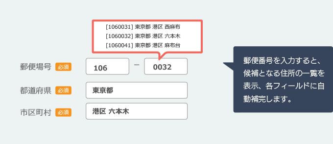 郵便番号検索機能設置